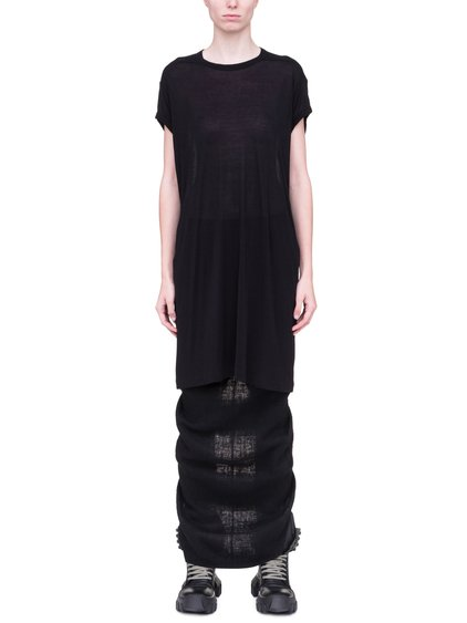 RICK OWENS T-SHIRT IN BLACK VISCOSE SILK JERSEY
