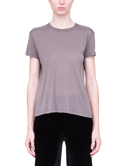 RICK OWENS SHORT LEVEL SHORT-SLEEVE TEE IN DUST GREY VISCOSE SILK
