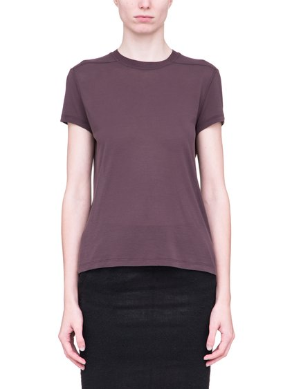 RICK OWENS SHORT LEVEL SHORT-SLEEVE TEE IN RAISIN PURPLE VISCOSE SILK