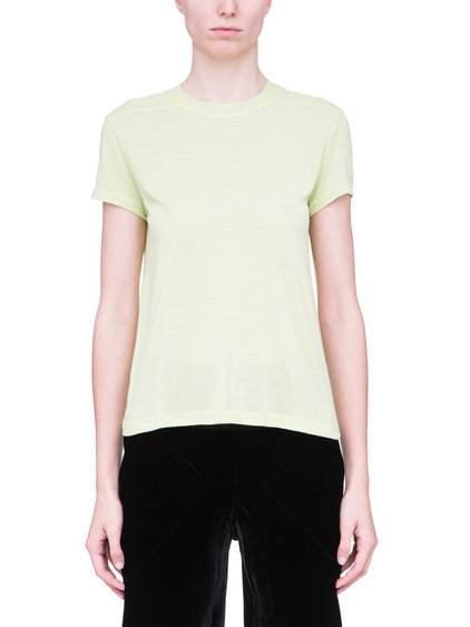 RICK OWENS SHORT LEVEL SHORT-SLEEVE TEE IN LIME LIGHT YELLOW VISCOSE SILK JERSEY