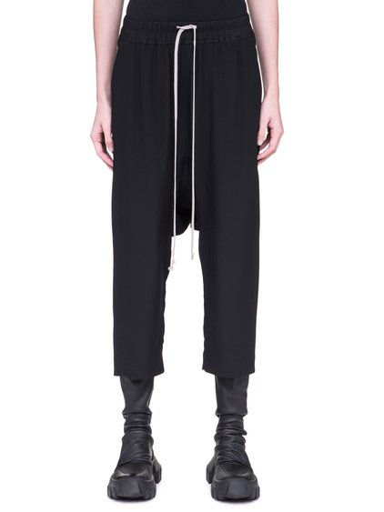 RICK OWENS CROPPED PANTS IN BLACK SILK CREPE