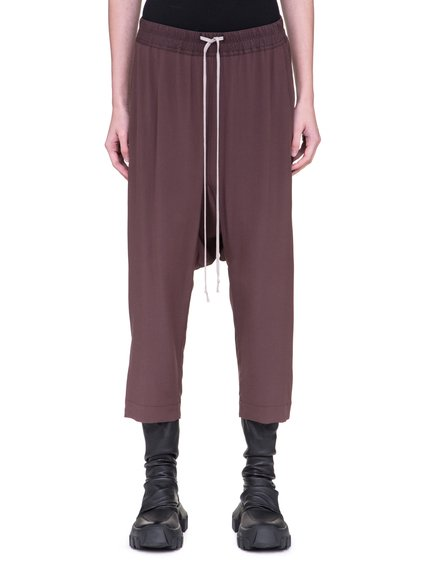 RICK OWENS CROPPED PANTS IN RAISIN PURPLE SILK CREPE