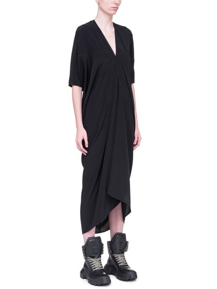 RICK OWENS KITE DRESS IN BLACK SILK CREPE