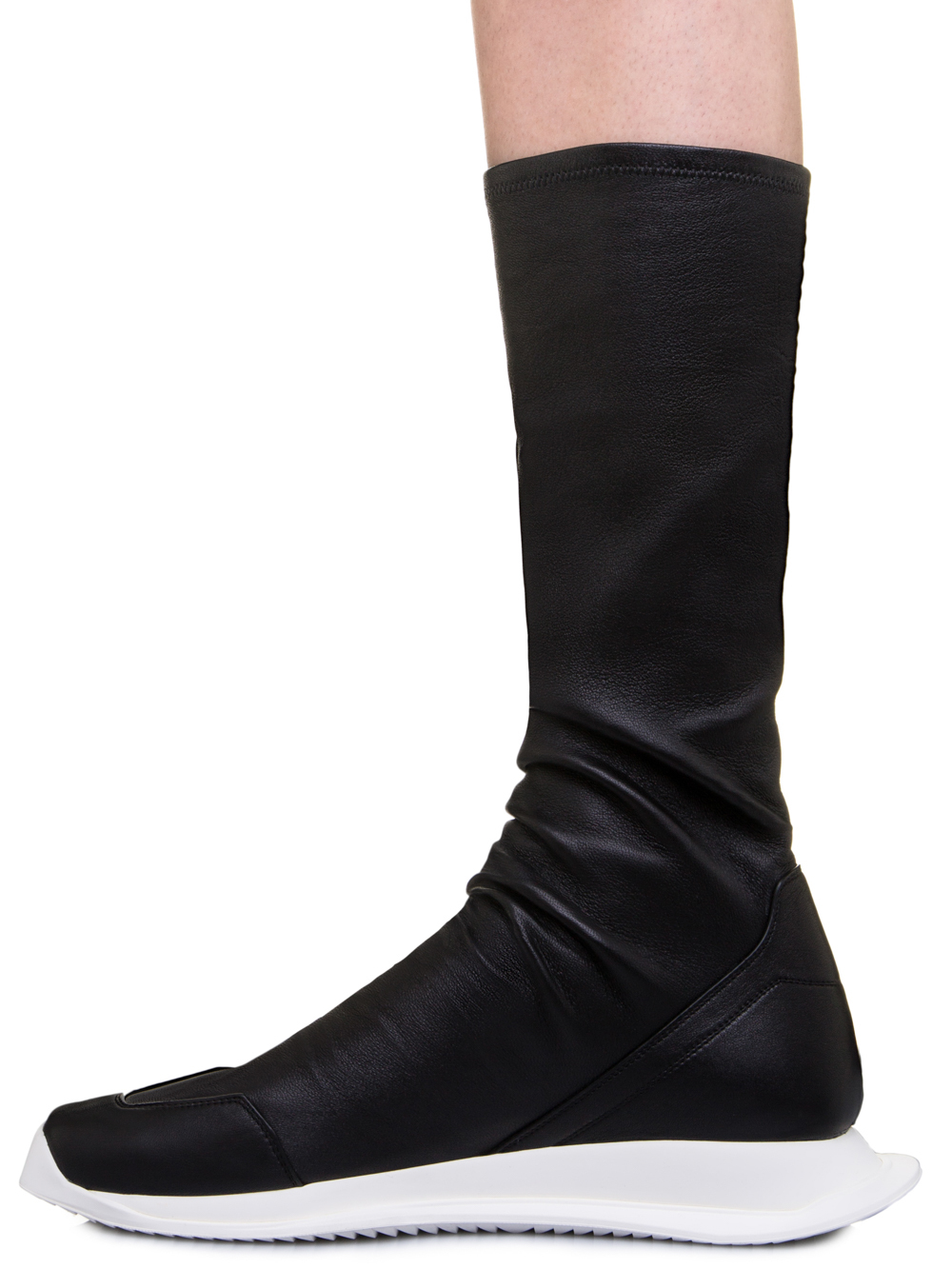 RICK OWENS OBLIQUE RUNNER STRETCH SOCK SNEAKERS IN BLACK LEATHER