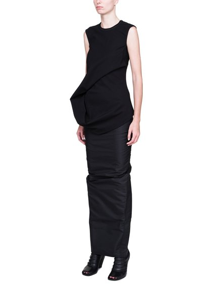 RICK OWENS ELLIPSE TOP IN BLACK IS SLEEVELESS