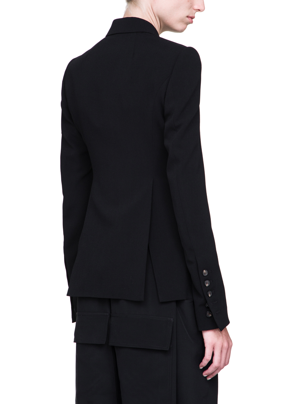 RICK OWENS FW18 SISYPHUS SOFT SHORT BLAZER IN BLACK LIGHT CREPE WOOL