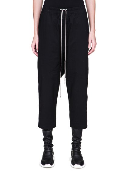 DRKSHDW FW18 SISYPHUS DRAWSTRING CROPPED PANTS IN BLACK LIGHTWEIGHT COTTON