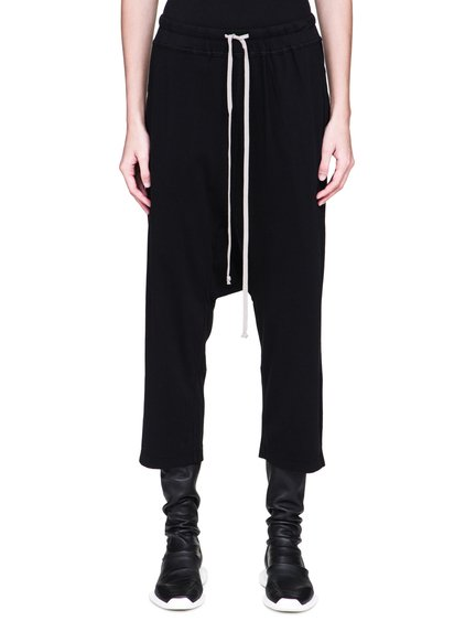 DRKSHDW FW18 SISYPHUS DRAWSTRING CROPPED PANTS IN BLACK MEDIUMWEIGHT COTTON