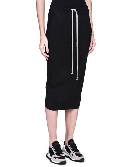DRKSHDW FW18 SISYPHUS SOFT SHORT PILLAR SKIRT IN BLACK LIGHTWEIGHT COTTON