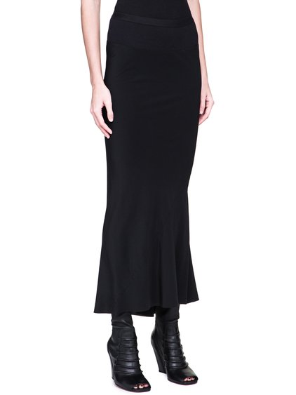 RICK OWENS FW18 SISYPHUS CALF LENGTH SKIRT IN BLACK SILK CREPE