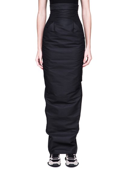 RICK OWENS FW18 SISYPHUS DIRT PILLAR SKIRT IN BLACK TECH CANVAS