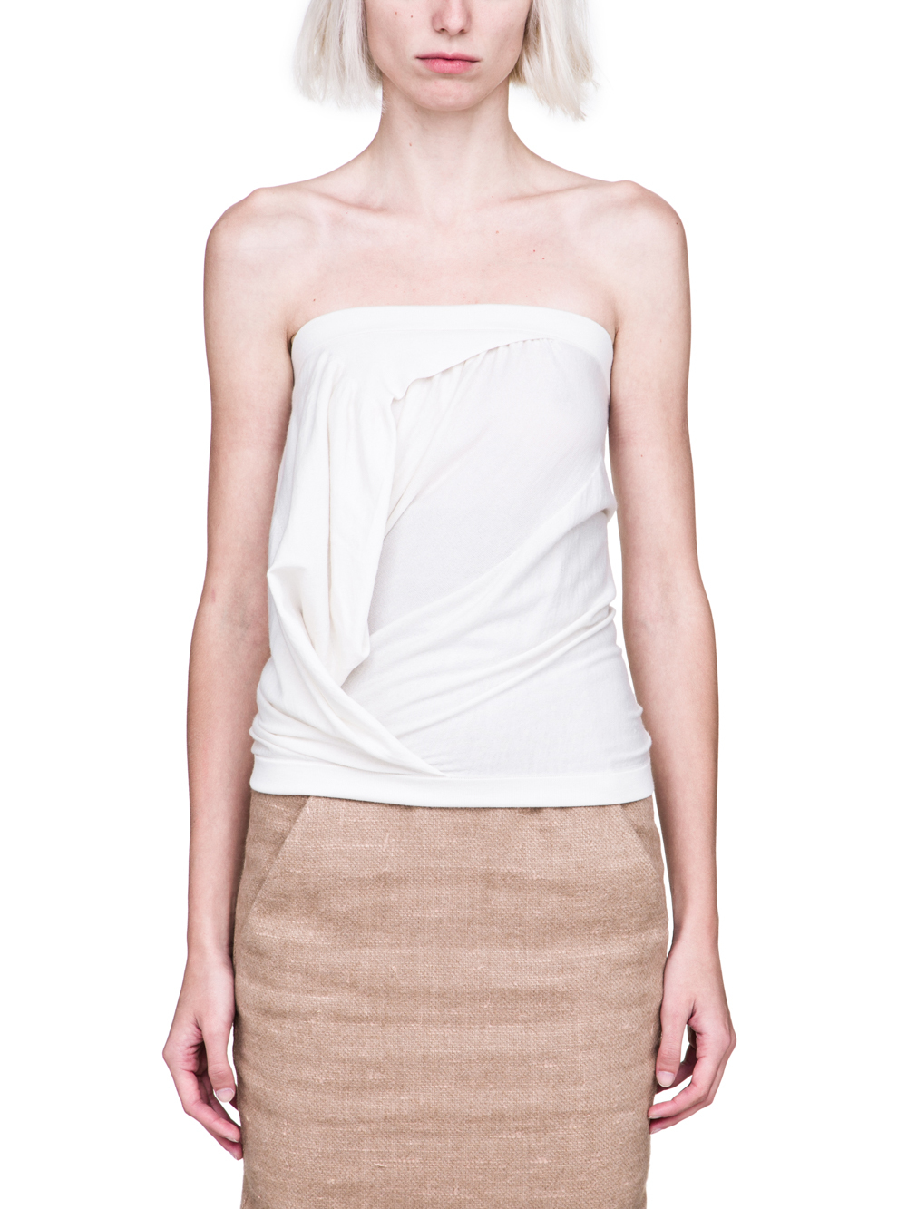 RICK OWENS FW18 SISYPHUS OFF-THE-RUNWAY BUSTIER TOP IN NATURAL STRETCH CASHMERE