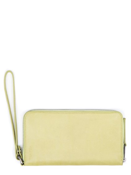 RICK OWENS ZIP AROUND WALLET IN YELLOW CALF LEATHER