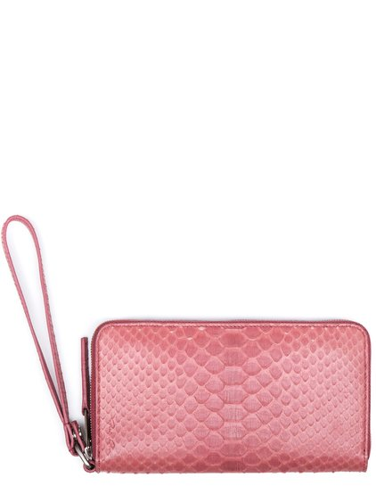 RICK OWENS ZIP AROUND WALLET IN PINK PYTHON LEATHER