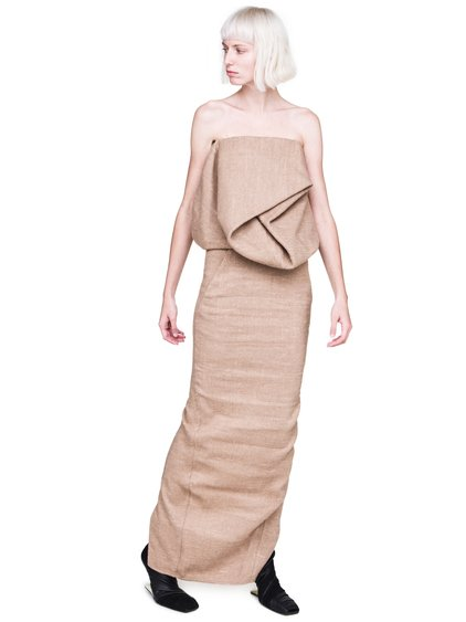 RICK OWENS FW18 SISYPHUS OFF-THE-RUNWAY DIRT PILLAR SKIRT IN BEIGE CAMEL WOOL