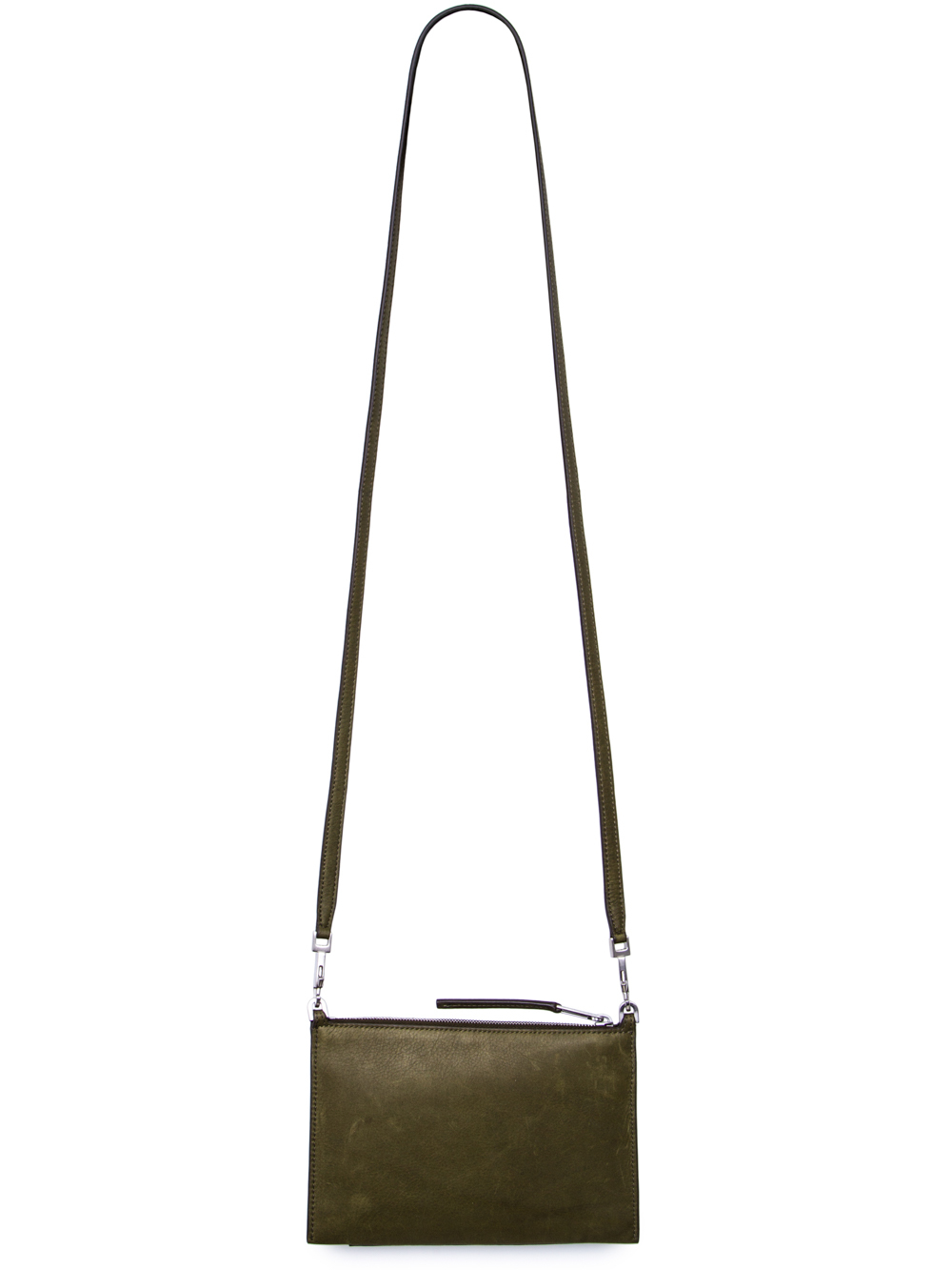 RICK OWENS FW18 SISYPHUS CLUB POUCH IN DIRTY GREEN CALF LEATHER