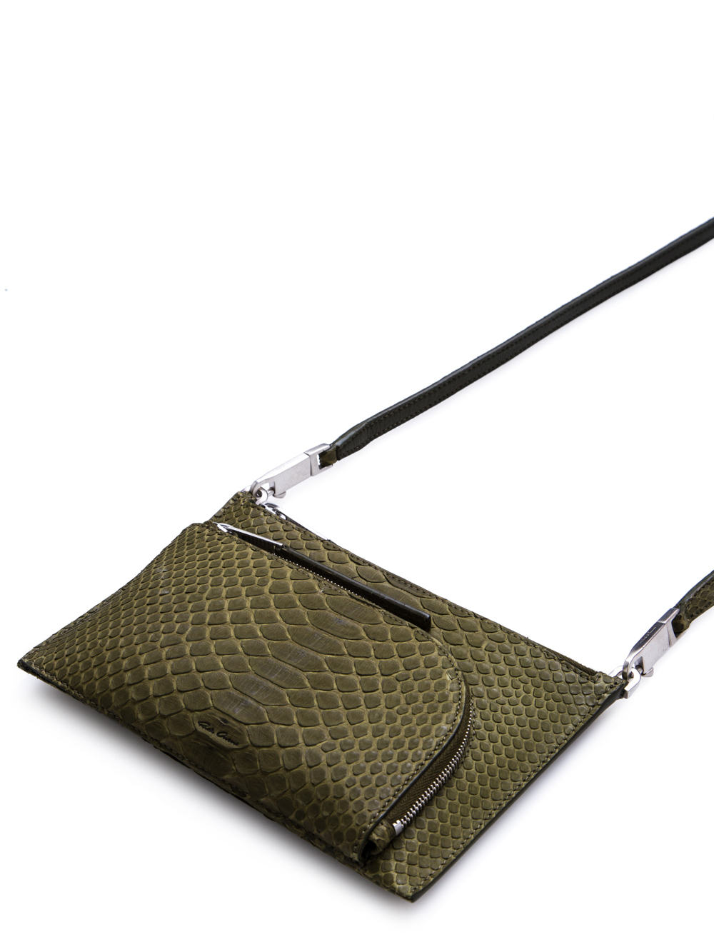 RICK OWENS FW18 SISYPHUS CLUB POUCH IN DIRTY GREEN PYTHON LEATHER