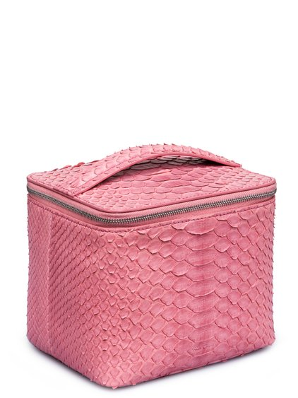 RICK OWENS FW18 SISYPHUS SMALL TOILETRY BEAUTY CASE IN PINK PYTHON LEATHER