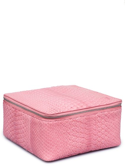RICK OWENS FW18 SISYPHUS BIG TOILETRY BEAUTY CASE IN PINK PYTHON LEATHER