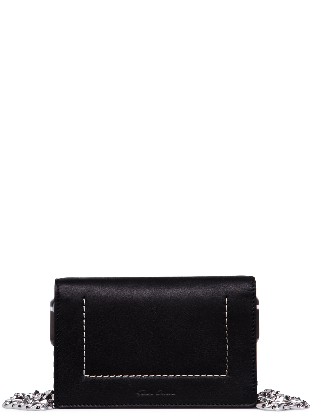 RICK OWENS FW18 SISYPHUS LUNCH BAG IN BLACK CALF LEATHER