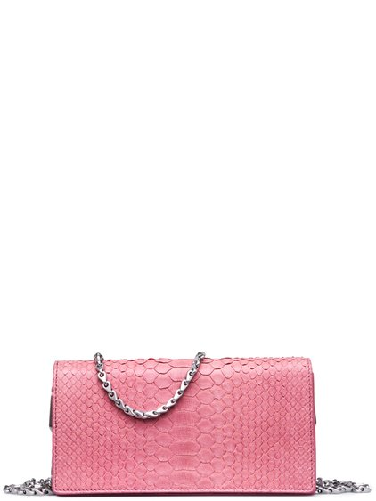 RICK OWENS FW18 SISYPHUS DEJEUNETTE BAG IN PINK PYTHON LEATHER