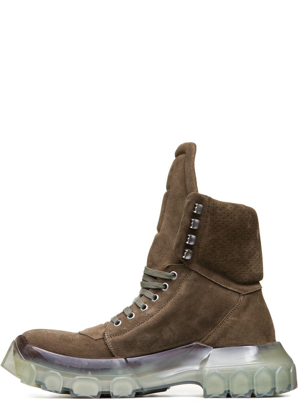 RICK OWENS FW18 SISYPHUS OFF-THE-RUNWAY TRACTOR DUNK BOOTS IN DUST GREY SUEDE COW LEATHER