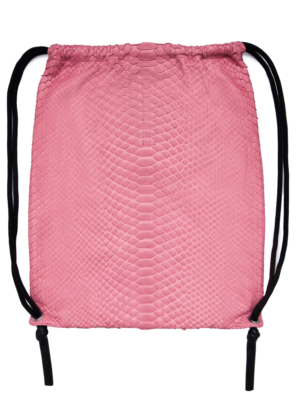 RICK OWENS FW18 SISYPHUS DRAWSTRING BACKPACK IN PINK PYTHON LEATHER