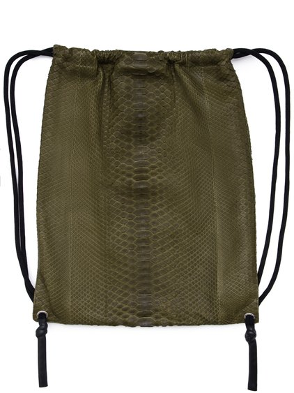 RICK OWENS FW18 SISYPHUS DRAWSTRING BACKPACK IN DIRTY GREEN PYTHON LEATHER