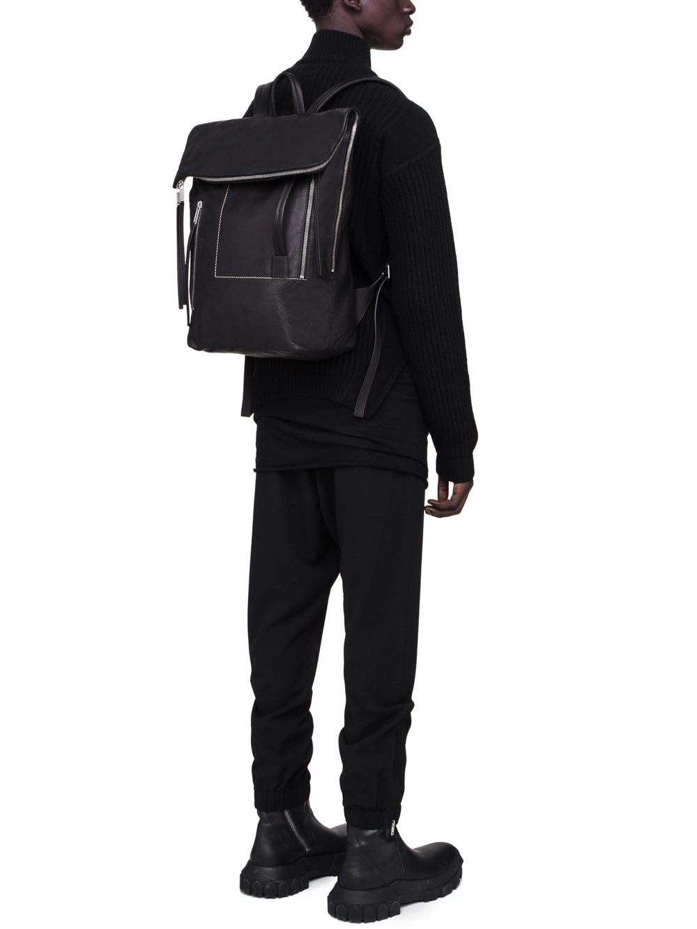 RICK OWENS FW18 SISYPHUS DUFFLE BACKPACK IN BLACK CALF LEATHER