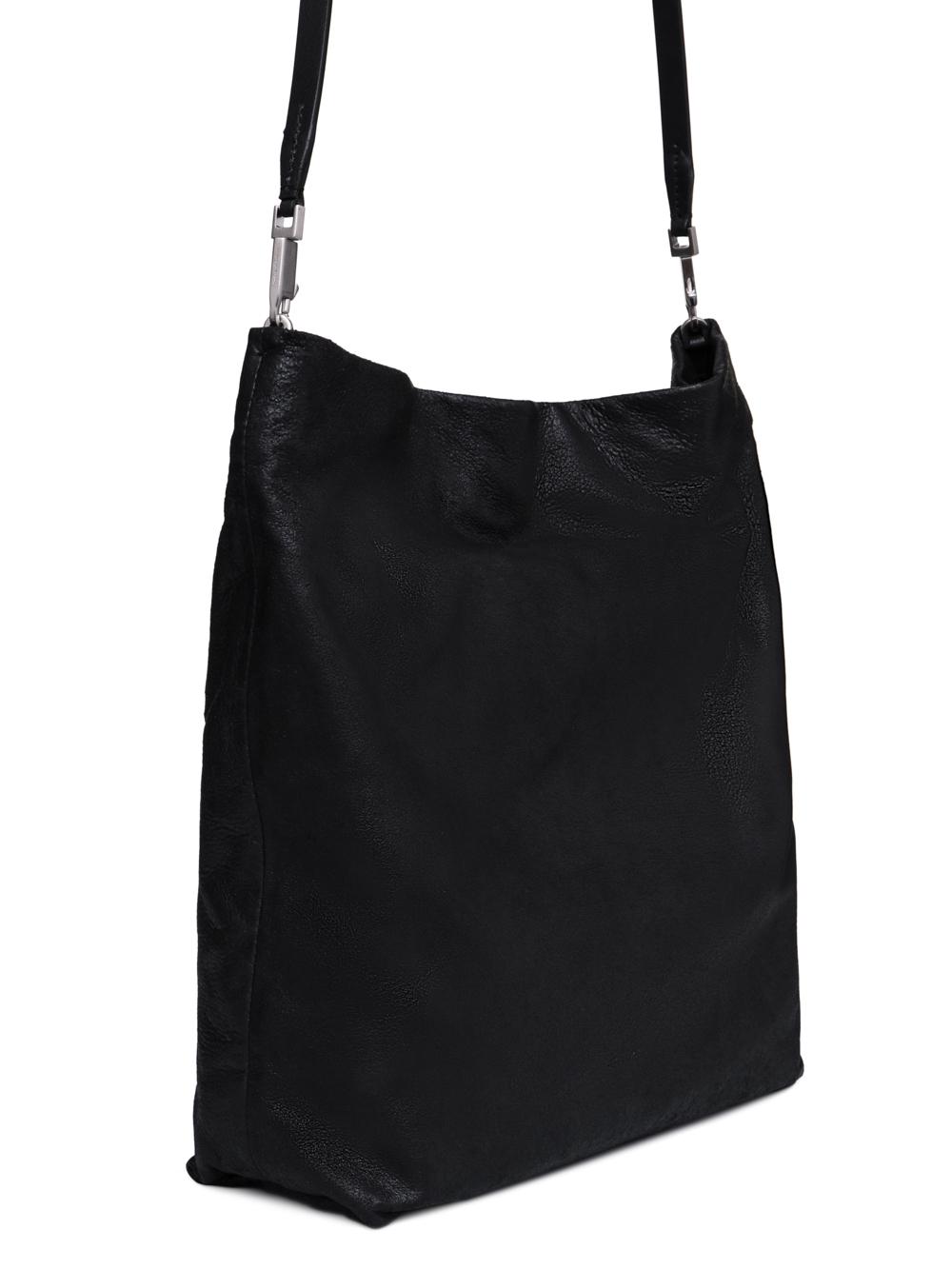 RICK OWENS FW18 SISYPHUS BIG ADRI BAG IN BLACK OILY BLISTER LAMB LEATHER