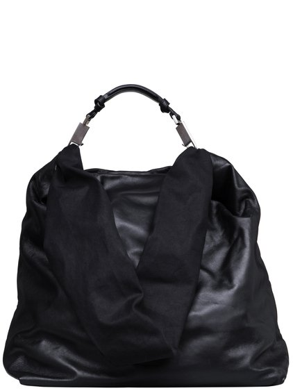 RICK OWENS FW18 SISYPHUS JUMBO BALOON BAG IN BLACK LAMB LEATHER