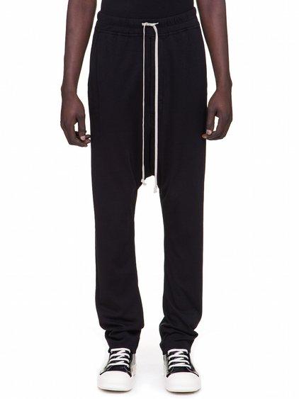 DRKSHDW FW18 SISYPHUS DRAWSTRING LONG PANTS IN BLACK MEDIUMWEIGHT COTTON