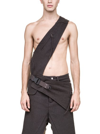 RICK OWENS FW18 SISYPHUS OFF-THE-RUNWAY CROSS CARGO BELT IN DUST GREY CAMEL WOOL