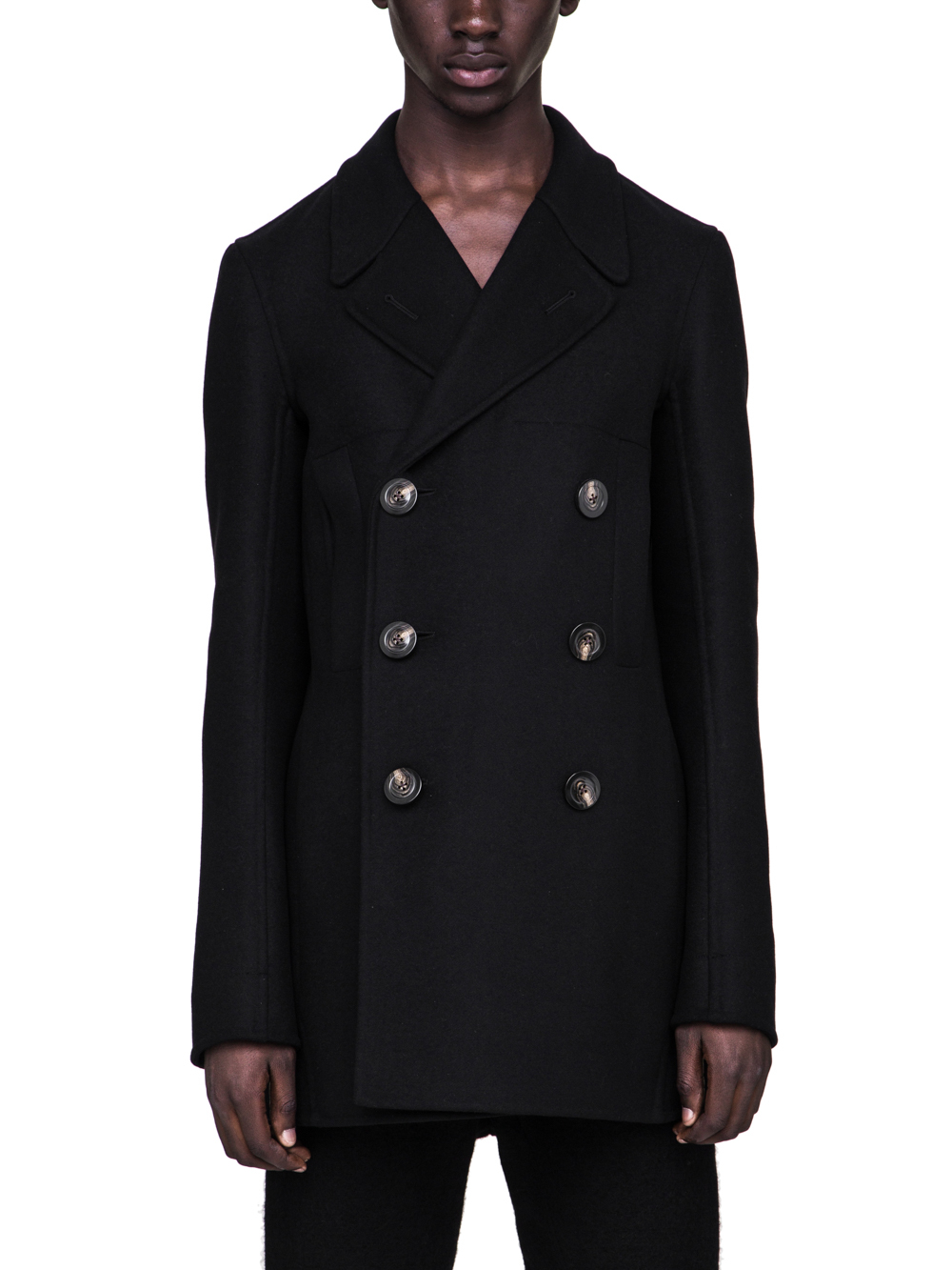 RICK OWENS FW18 SISYPHUS CHURCH PEA COAT IN BLACK DOUBLE WOOL