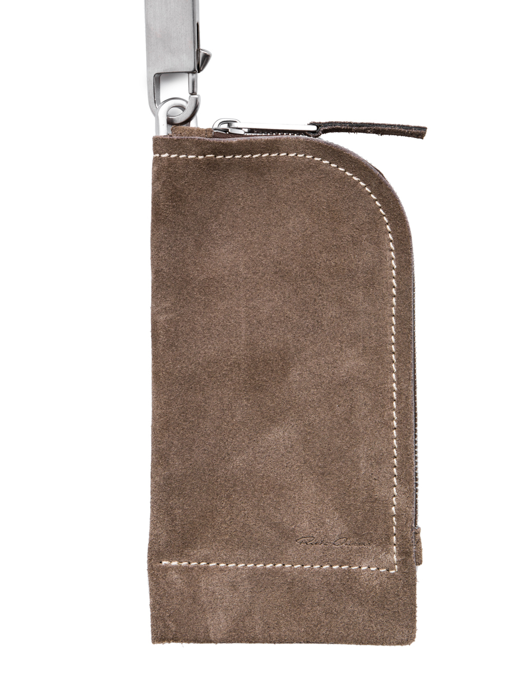 RICK OWENS OFF-THE-RUNWAY NECKWALLET IN DUST GREY SUEDE CALF LEATHER IS RECTANGULAR