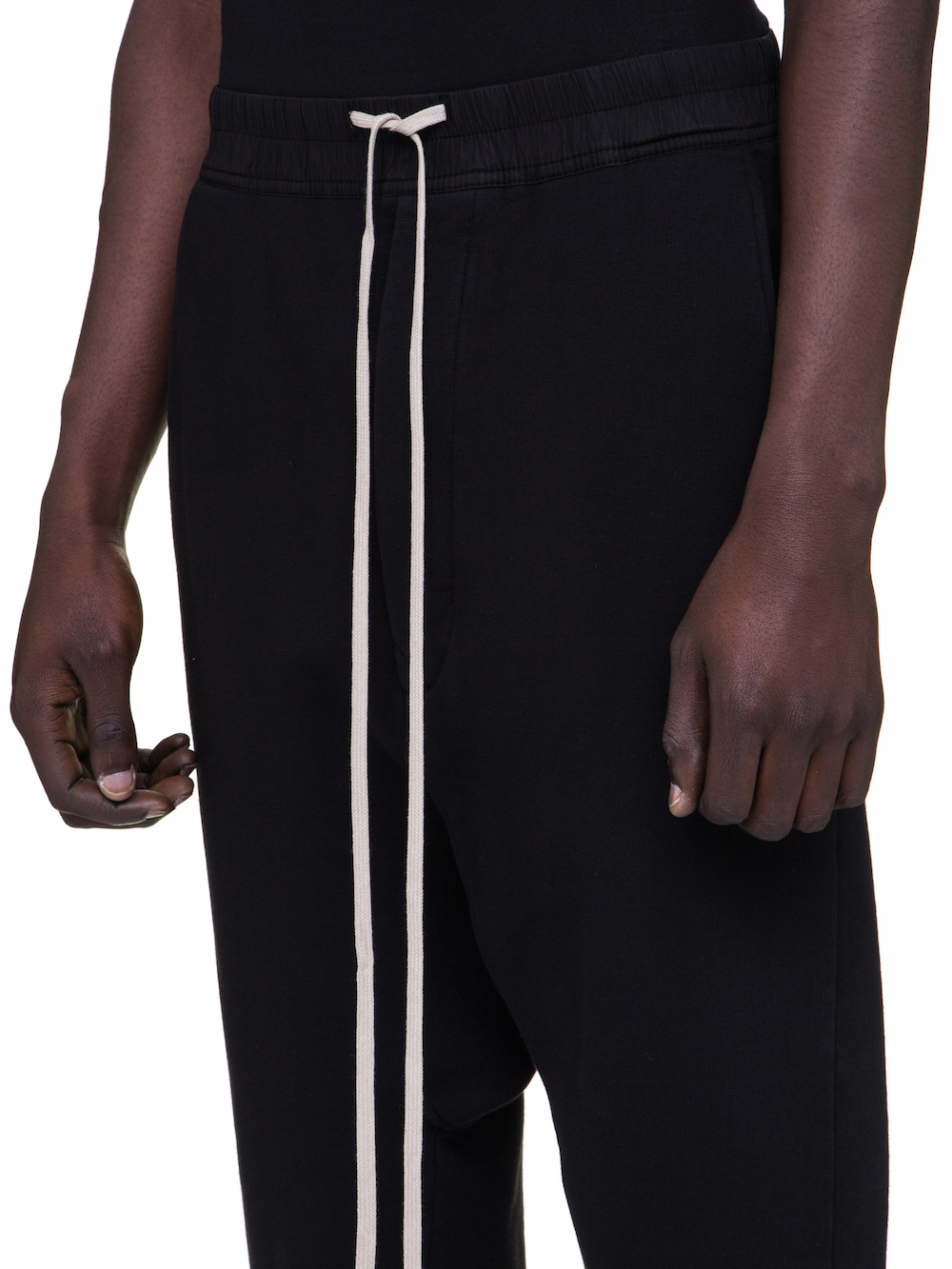 DRKSHDW FW18 SISYPHUS DRAWSTRING CROPPED PANTS IN BLACK