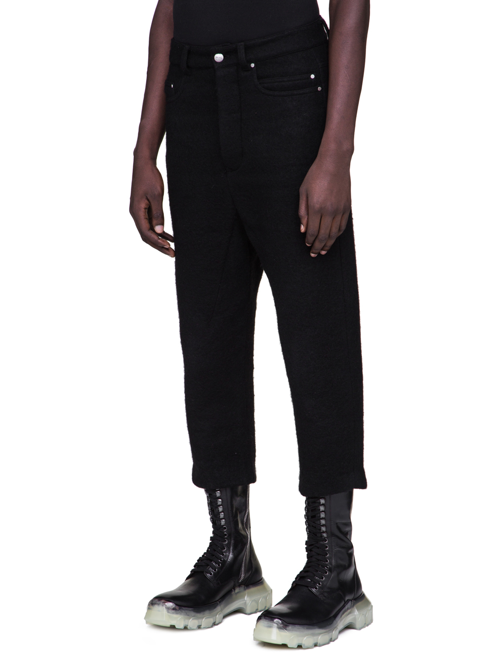 RICK OWENS FW18 SISYPHUS OFF-THE-RUNWAY COLLAPSE JEANS IN BLACK BOILED WOOL