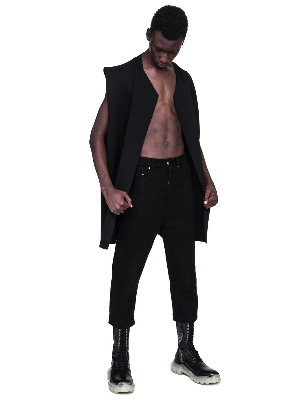 RICK OWENS FW18 SISYPHUS OFF-THE-RUNWAY SLEEVELESS TEE CARDIGAN IN BLACK