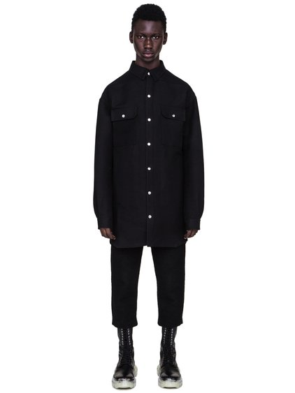 RICK OWENS FW18 SISYPHUS OFF-THE-RUNWAY OVERSIZED OUTER SHIRT IN BLACK