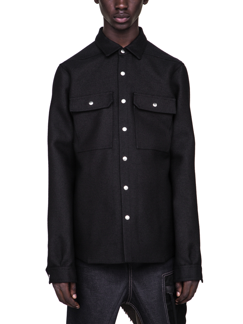 RICK OWENS FW18 SISYPHUS OFF-THE-RUNWAY OUTER SHIRT IN BROWN BLACK WOOL
