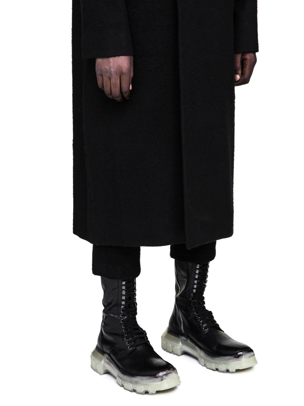 RICK OWENS FW18 SISYPHUS OFF-THE-RUNWAY BELL COAT IN BLACK CAMEL WOOL