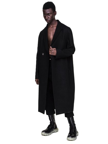 RICK OWENS FW18 SISYPHUS OFF-THE-RUNWAY BELL COAT IN BLACK CAMEL WOOL