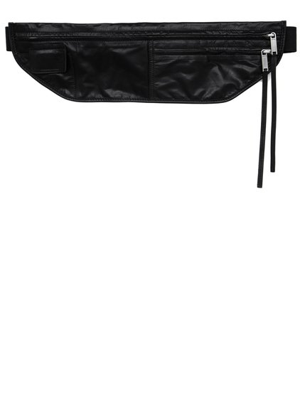 RICK OWENS FW18 SISYPHUS MONEY BELT IN BLACK BABY CALF LEATHER