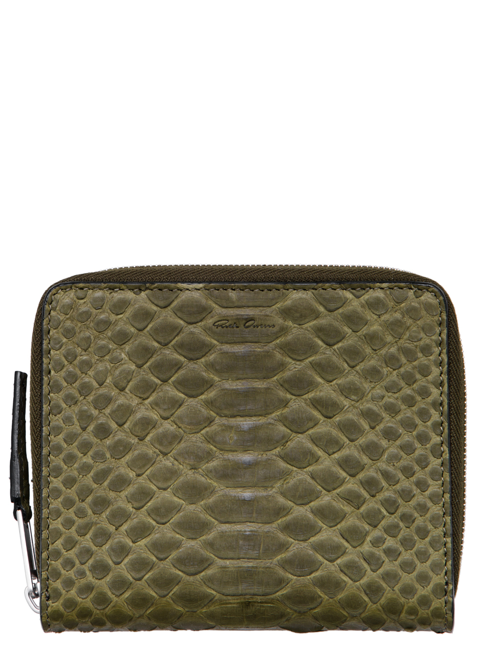 RICK OWENS FW18 SISYPHUS SMALL ZIPPED WALLET IN DIRTY GREEN PYTHON LEATHER