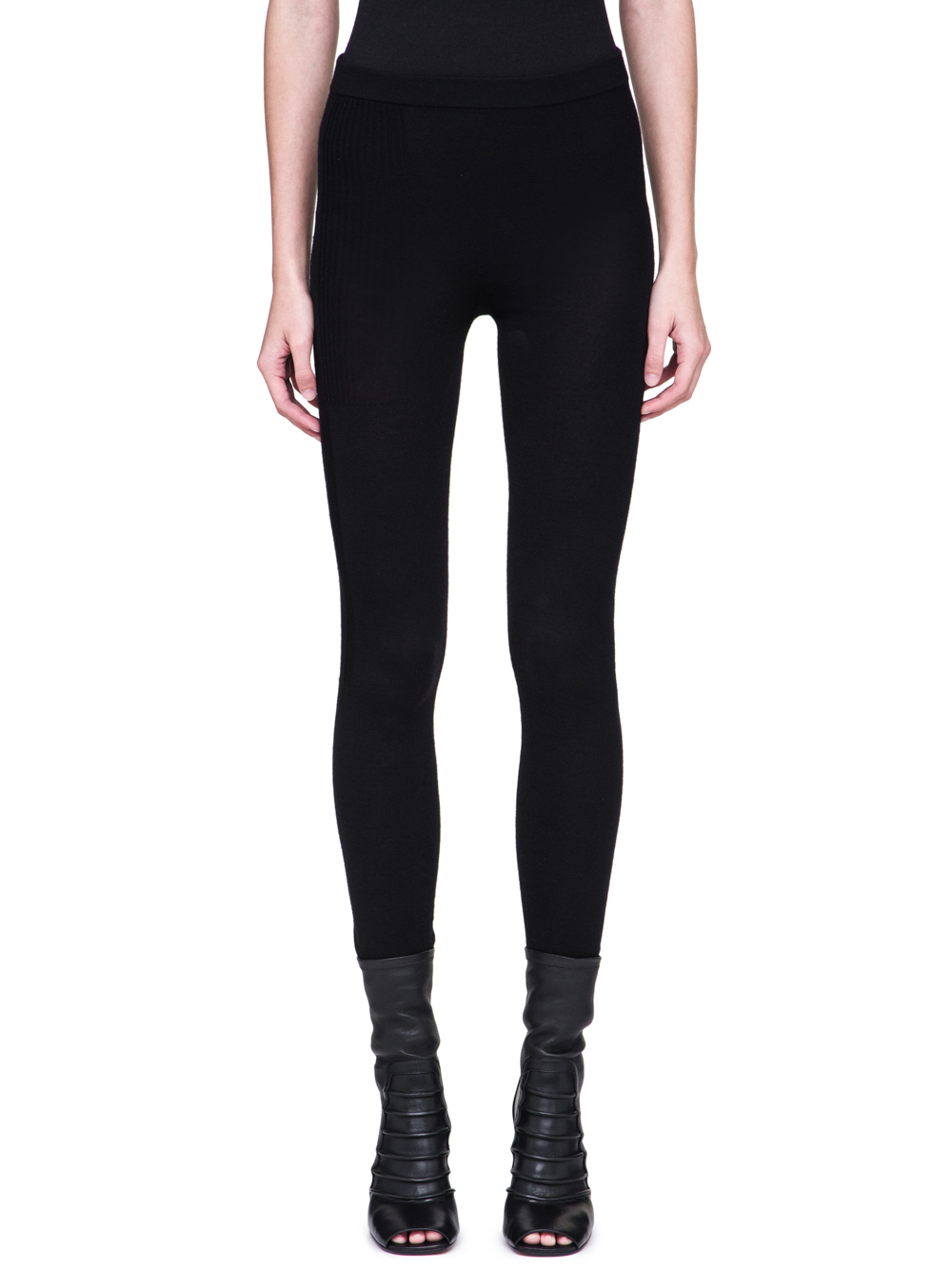 RICK OWENS FW18 SISYPHUS OFF-THE-RUNWAY LEGGINGS IN BLACK STRETCH CASHMERE