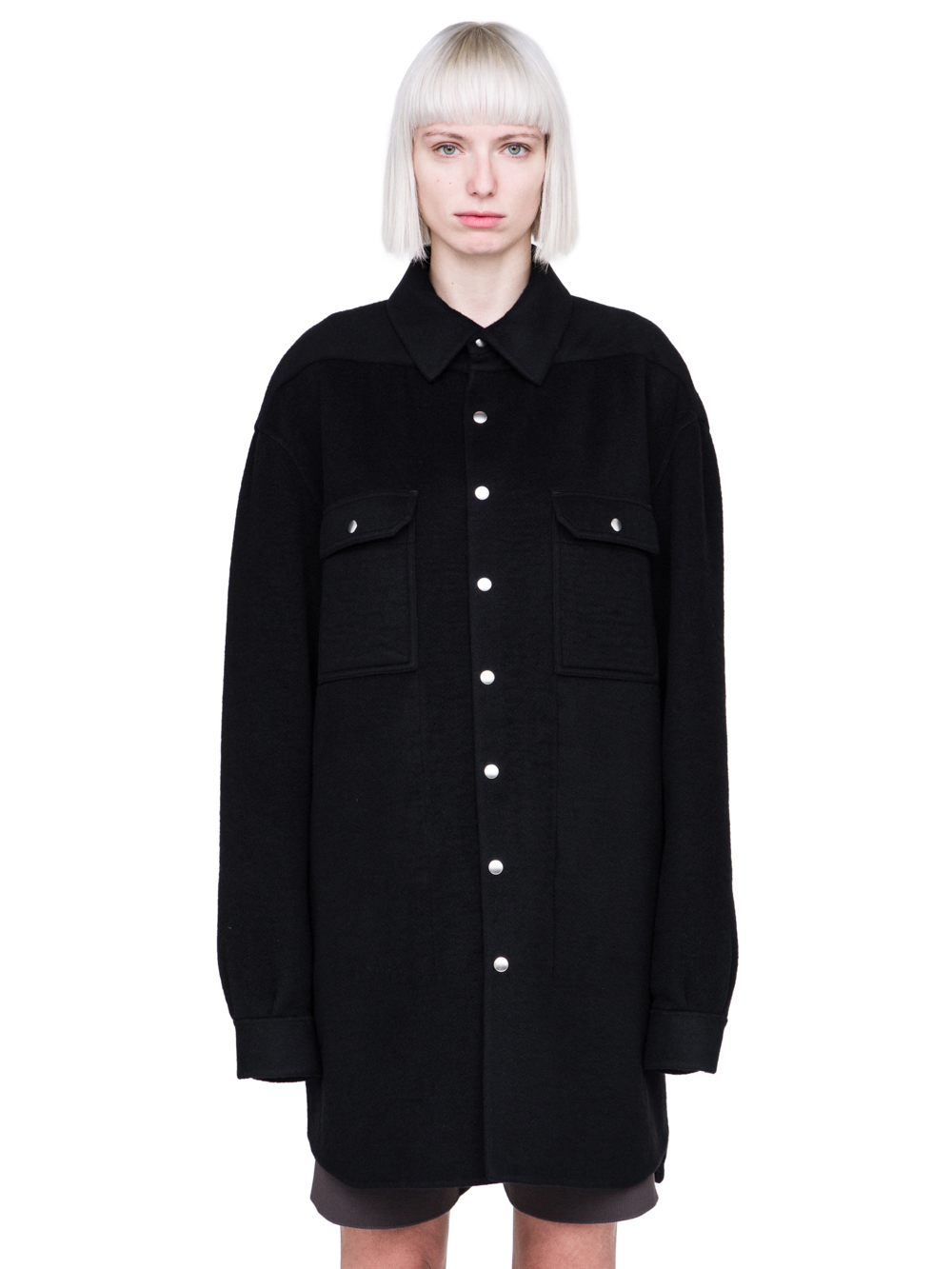 RICK OWENS FW18 SISYPHUS OFF-THE-RUNWAY OVERSIZED OUTERSHIRT IN BLACK CASHMERE