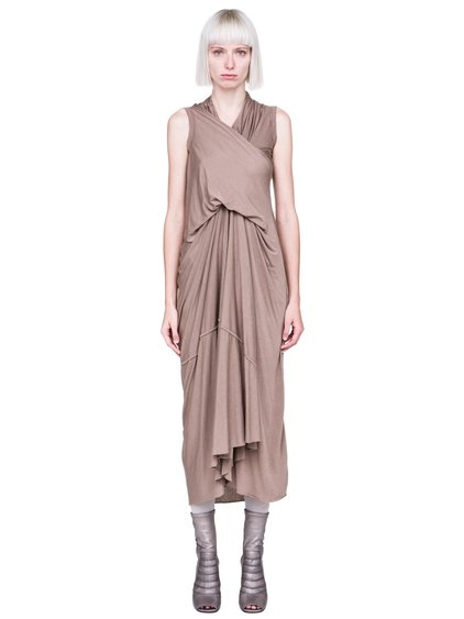 RICK OWENS LILIES FW18 SISYPHUS TORNADO DRESS IN FLESH PINK IS SLEEVELESS