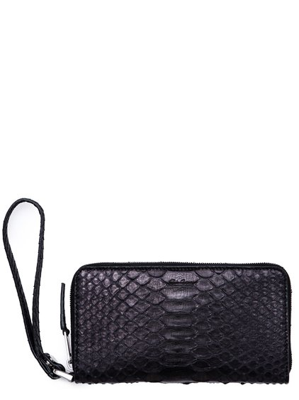 RICK OWENS FW18 SISYPHUS ZIP AROUND WALLET IN BLACK PYTHON LEATHER