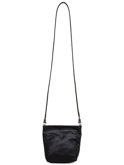 RICK OWENS FW18 SISYPHUS SMALL ADRI BAG IN BLACK OILY BLISTER LAMB LEATHER