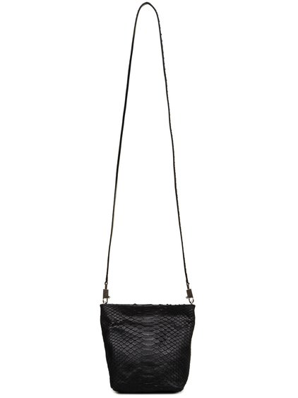 RICK OWENS FW18 SISYPHUS SMALL ADRI BAG IN BLACK PYTHON LEATHER